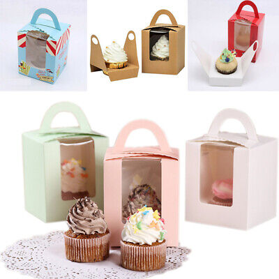 Portable Window Cupcake Boxes 1~20pcs fr Single Cake cup Gift box Birthday Party