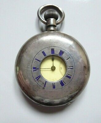 Late 19th century antique silver half hunter Longines pocket watch ##REC76ABS