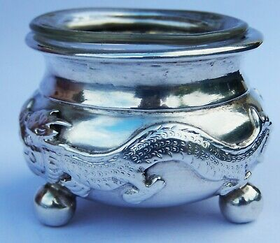 Very Fine Antique Chinese Export Solid Silver Salt Cellar; Wang Hing c1870
