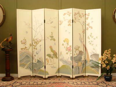 Oriental 6 Panel Screen / Room Divider ~ Unusual Design, With Beautiful Colours