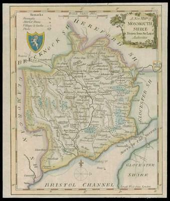 c1750 Original Antique Map WALES County Map of MONMOUTHSHIRE KITCHIN (W/DW104)