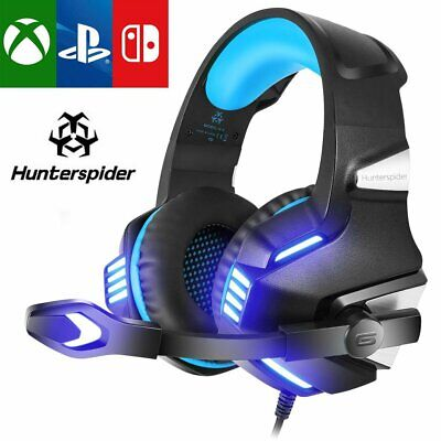 Hunterspider 3.5mm Gaming Headset MIC LED Headphone for PC Laptop PS4 Xbox One X