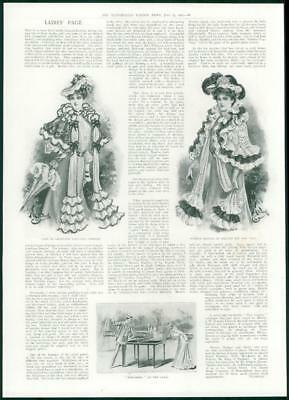 1901 Antique Print - FASHION Cape Chantilly Lace Chiffon Summer Mantle Net (415)