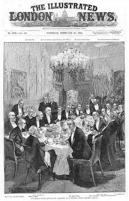 1894 Antique Print - LONDON Downing Street Ministerial Dinner Mr Gladstone (149)
