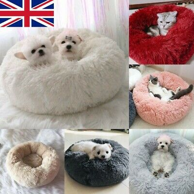 Pet Dog Cat Calming Bed Warm Soft Plush Round Cute Nest Comfortable Sleeping S/L