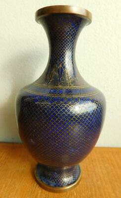 Gorgeous Vintage Sophisticated All Blue Cloisonné Vase 1900s