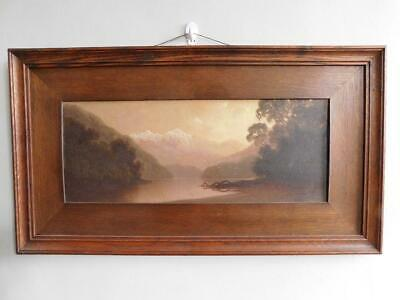 Beautiful Edwardian Original Oil Painting New Zealand Fjord Landscape 1900s