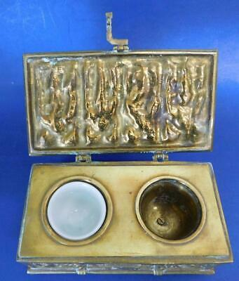 Exquisite Antique Heavy Brass Gothic style Locking Inkwell Inkstand Box