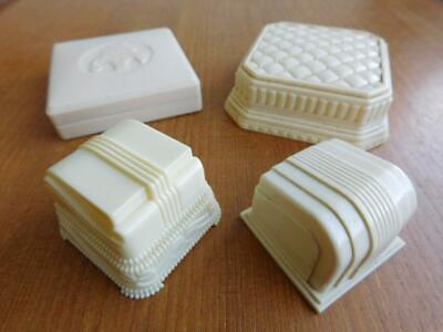 4x Art Deco CASECRAFT Jewellery Case Ring & Brooch Boxes Cream Bakelite c1930s