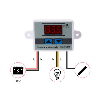 12V 24V Digital LED Temperature Controller 10A Thermostat Control Switch Probe