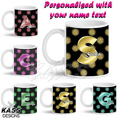 Polka Glitter Dots Personalised Mug Cup Novelty Unique Name Friends Gift Idea