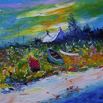 Beached Boats Mull Hebridean Impressionist Colourist Oil Painting Natalie Souter
