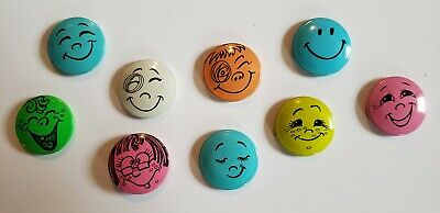 9 Vintage Smiley Face Creative House c 1966 - 1970's USA Smile Happy Button Pins