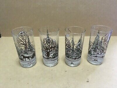 "Lot Of 4 Johnson Bros ""the Friendly Village"" Tumblers / Glasses 5 3/4"""