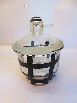 "Desiccator Clear Glass 8"" With Porcelain Plate & Beads  S4290"