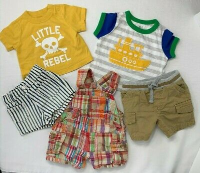 Old Navy Boys 0-3 Months Lot of 2 Shirts Yellow Little Rebel and Boat Applique