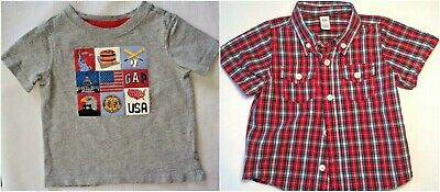 Baby Gap Boys 6-12 Months Shirts Red Plaid #16 & Gray Patriotic T-Shirt Lot of 2