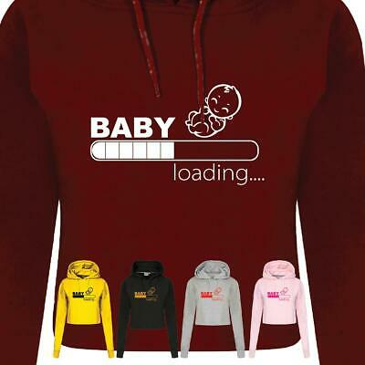 Baby Loading Ladies CropHood Pregnant Gift maternity Top Pregnancy announcement