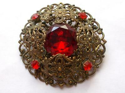 Vintage Art Deco Brass Tone Filigree Czech Glass Red Crystal Statement Brooch