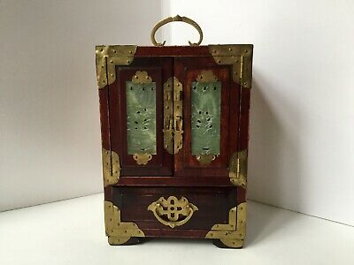 Vintage Oriental Wooden Music Jewelry Box Bronze And Ornate Carved Jade Inlaid