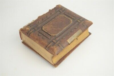 Antique Victorian Small Leather Tintype Photo Album with 13 Photographs