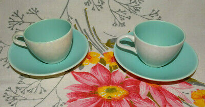 POOLE TWINTONE C57 ICE GREEN SEAGULL DEMI TASSE COFFE CUPS & SAUCERS X 2 vintage