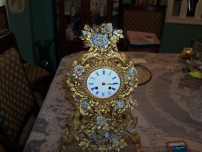 French Antique  brassl Mantel Clock   GILDED Dome  with porcelain flowers works