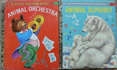 2 Vintage Little Golden Books ~ ANIMAL ORCHESTRA, ANIMAL ALPHABET FROM A to Z
