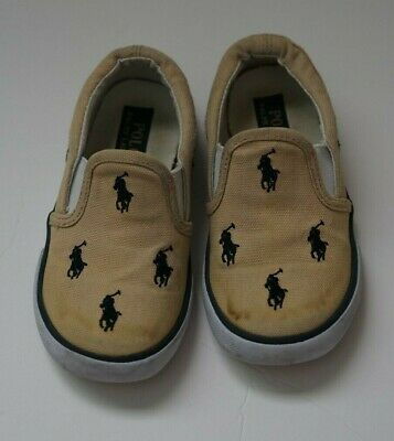 Polo Ralph Lauren Toddler Boys All over Pony Canvas slip on Shoes Size 9