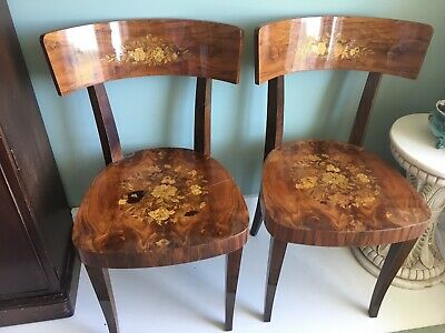 Italian Inlaid Pair Antique Floral Vintage Chairs