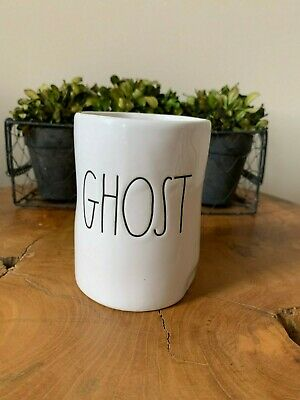 New Rae Dunn By Magenta 👻 GHOST 👻 Halloween Candle Ceramic w LARGE LETTERS 🎃