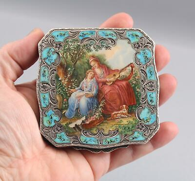 Antique Engraved 800 Silver Compact Miniature Enamel Painting Mother Daughter