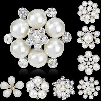Vintage Women Flower Brooch Pin Crystal Rhinestone Bridal Pearl Broach Wedding z