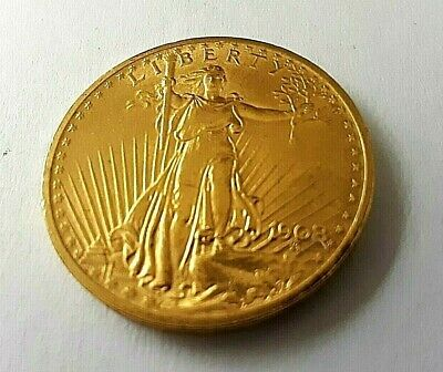 1908 $20 St Gaudens Gold With Motto Twenty Dollar Double Eagle, BU Details