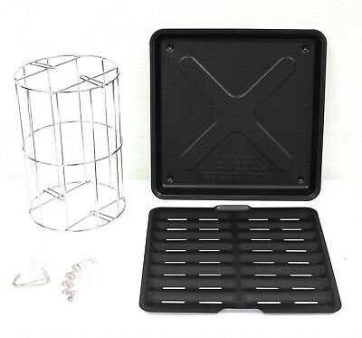 Ronco Rotisserie Rib Basket With Clips and Compact Drip Tray Combo Accessory Set