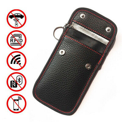 Mini Black Car Key Signal Blocker Case Fob Pouch Leather RFID Blocking Bag Uk