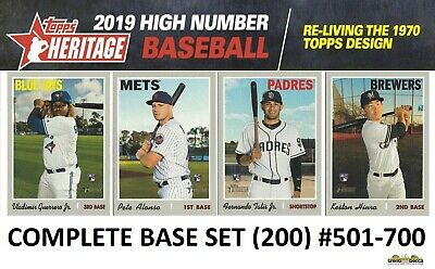 2019 Topps Heritage High Number COMPLETE BASE SET (200 Cards) #501-700 Guerrero+