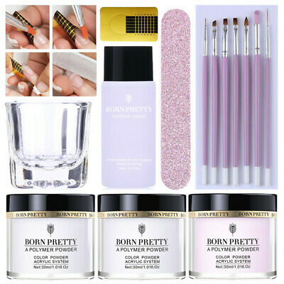 14Pcs/Set BORN PRETTY Polymer Acrylic Powder Liquid Nail File Form Brushes Kit