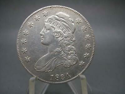 1834 U.s. Capped Bust 90% Silver Half Dollar Small Date Letters Stars Nice Coin!