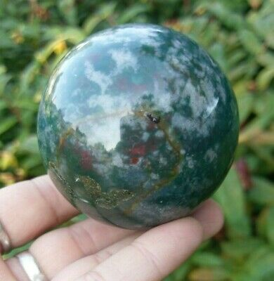 49mm MOSS AGATE Sphere Crystal Stone Healing Reiki Charged 10.2oz!