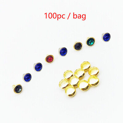 100pcs 6mm Bags Clothing Small Shiny Crystals Studs Rhinestone Rivet Metal Edge