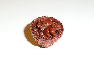 "Adorable Mice In Basket Hand Carved Boxwood Wood Button - Mouse 1"" x 1-1/8"""