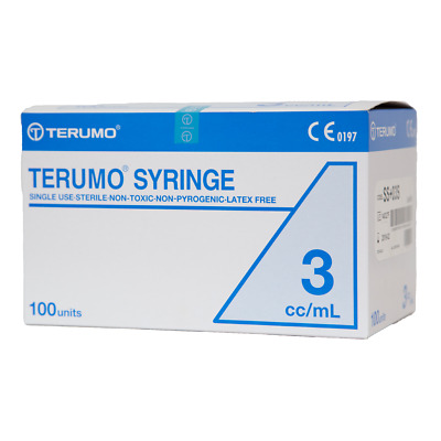 Box 100 3ml Terumo Syringe Luer LOCK TIP - Syringes ONLY No Needle