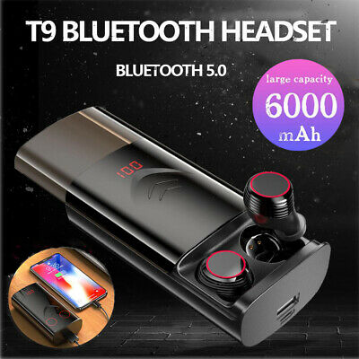 T9 TWS Wireless Earphones Bluetooth 5.0 Headset Waterproof Sports Stereo Earbuds