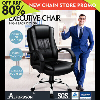 ALFORDSON Executive Office Chair PU Leather Computer Gaming Racer Black Seat
