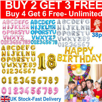 "16"" Self Inflating Foil Number & Letters BALLOONS Happy Birthday Party Balloons"
