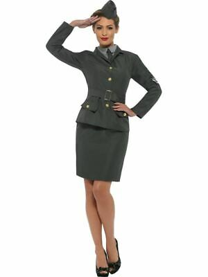WW2 Army Girl Costume, 1940's Wartime Fancy Dress, Small #IE