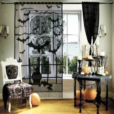 Lace Halloween Window Curtains Vividly Bats Spider Web Valance Door Panels Cover
