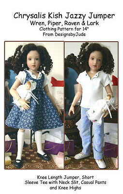 "Jazzy Jumper Doll Clothes Sewing Pattern 14"" Kish Wren, Raven, Piper & Lark"