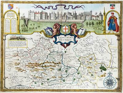 c1612 Original Antique Map - 1st Issue BERKSHIRE by John Speed Humble Edition